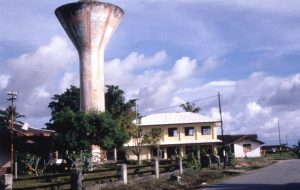 The water tower upon which protestors raised the West Papua flag